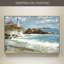 Художественная ручная роспись, высокое качество, современный морской пейзаж, картина маслом на холсте, Морской Маяк, картина маслом для гостиной