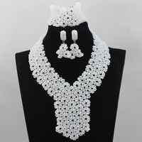 New Arrival! Amazing White Necklace Set for Bride White Crystal Seed Beaded Arab Wedding Party Jewelry Set Free shipping HX889