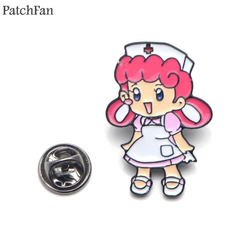 Patchfan Pocket monster Nurse Joy Zinc tie Pins backpack clothes brooches for men women hat decoration DIY badges medals A1838