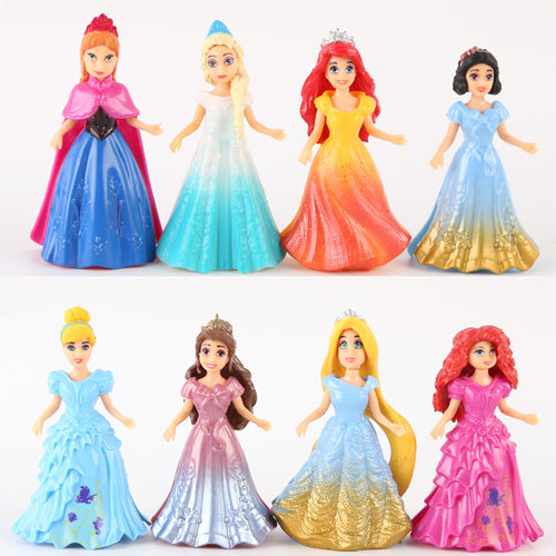 Disney 8pcs/set Magic Clip Dolls Dress Magiclip Princess Figurines Statue Snow White Cinderella Elsa Anna Action Figures Kid Toy