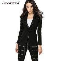 Free Ostrich Blazer Feminino Winter Jacket Women 2018 Full Sleeve Solid Ribbons Single Button Outerwear Jaqueta