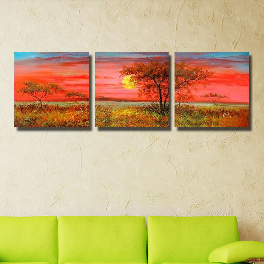 ᑐEnvío libre 100% pintado a mano 3 abstracto árbol pinturas al óleo ...