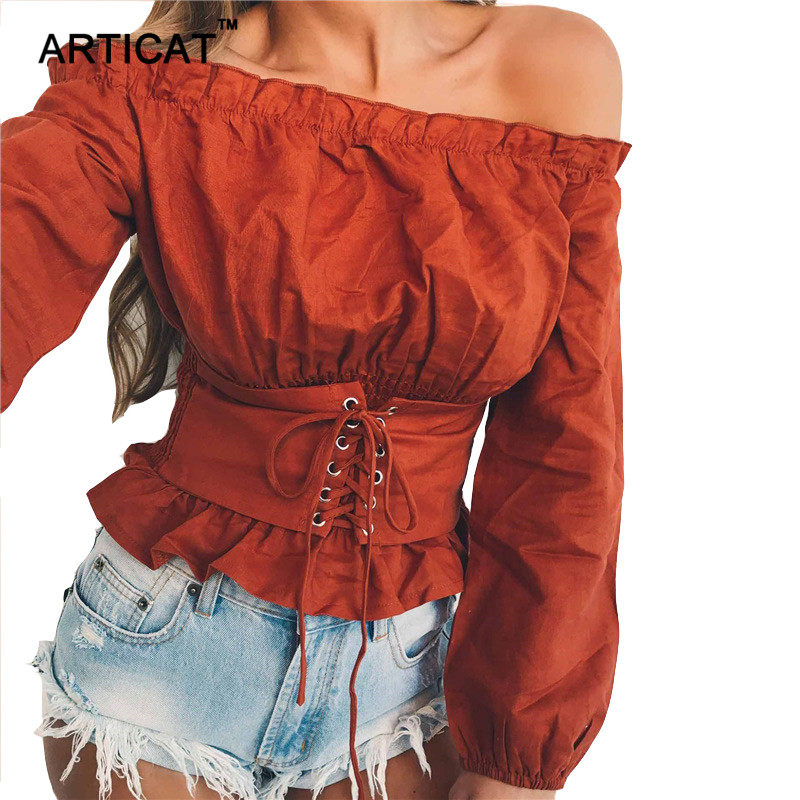 Articat Autumn Off Shoulder T shirt Women Tops Sexy Slash Neck Long Sleeve Pleated T-shirt Casual Waist Elastic Bandage Shirt