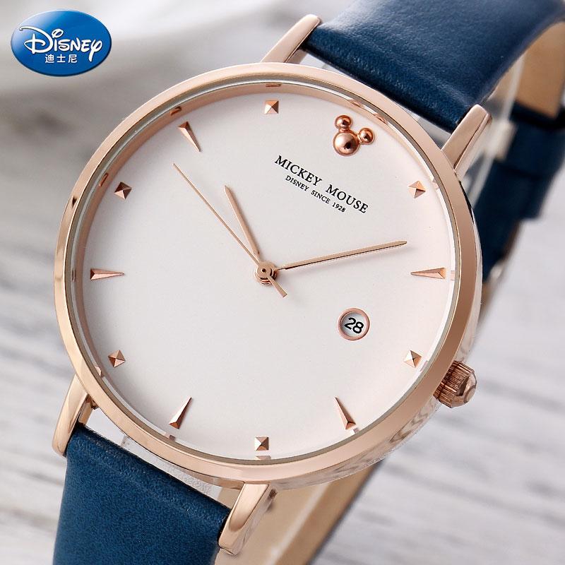 DISNEY Brand Watches For Women Fashion Casual Women Leather Quartz Watch Dress Ladies Wristwatch Female Clock