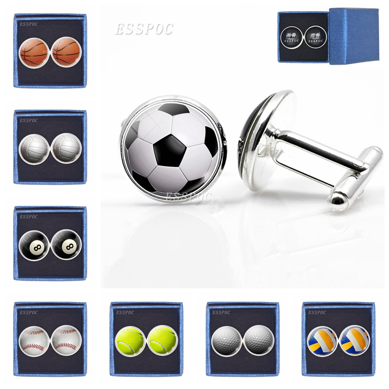 Men Cufflinks Football Basketball Baseball Volleyball Picture Glass Cabochon Silver Plated Cufflinks Box Packaged Dropshipping