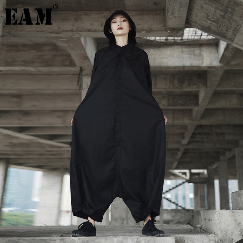 [EAM] 2020 Spring Trendy New Personality Loose Big Size Solid Color Half Sleeve O-neck Jumpsuit Women YA11601