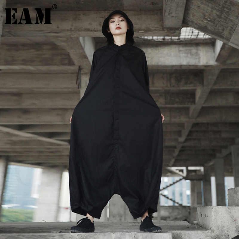[EAM] 2017ฤดูใบไม้ร่วงและฤดูใบไม้ร่วงอินเทรนด์ใหม่บุคลิกภาพหลวมขนาดใหญ่สีทึบครึ่งแขนO-คอJ Umpsuitผู้หญิงYA11601