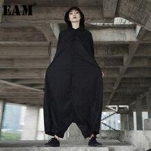 [EAM] 2020 אביב אופנתי חדש אישיות Loose גדול גודל מוצק צבע חצי שרוול O צוואר סרבל נשים YA11601