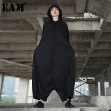 [EAM] 2020 Spring Trendy New Personality Loose Big Size Solid Color Half Sleeve O neck Jumpsuit Women YA11601