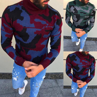 Warm Winter Men's Sweaters Pullover Muscle Tee Camo Military Floral High Neck Knitted Sweaters Masculino Hombre Casual Tops