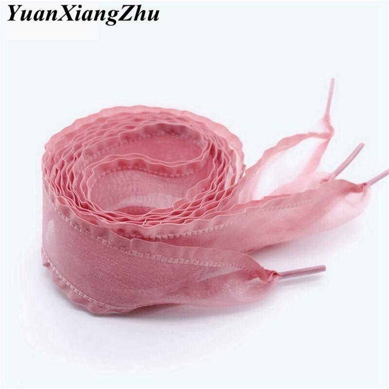 1 Pair New Folds Fungus Flounces Laces 4CM Width 80CM/100CM/120CM/140CM Length Organza Canvas Sneakers Shoelaces 7 Colors ME1