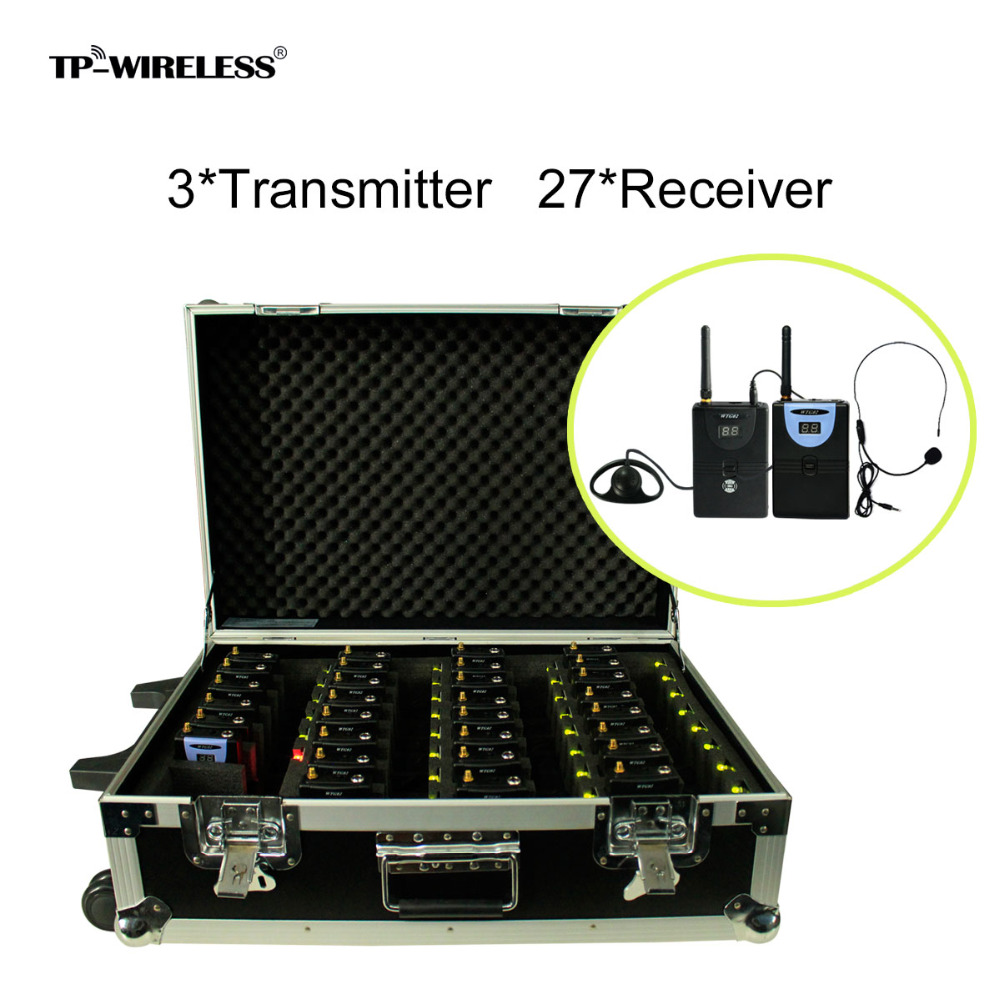 TP-WIRELESS Portable Charging Case for Tour Guide System Simultaneous Interpretation System Translation 3 transmitter + 27 Rx tp wireless tour guide system for teaching travel simultaneous translation meeting museum visiting 1 transmitter 30 receivers