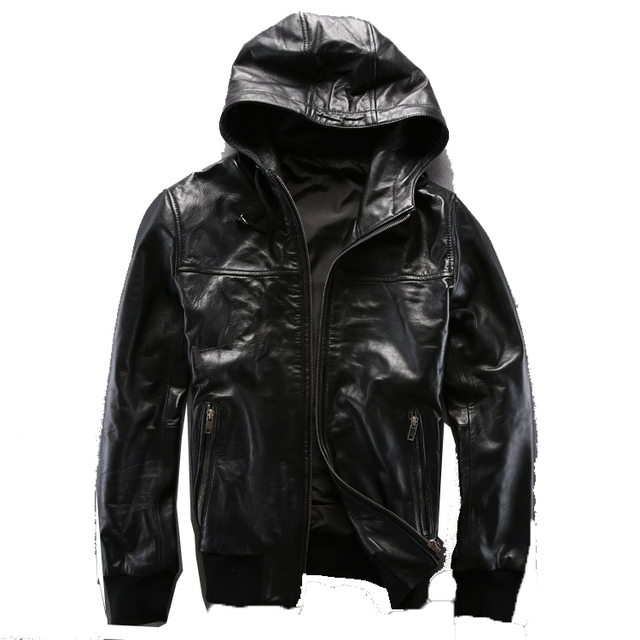 American Casual  Hooded Baseball clothing Men's leather jackets Super soft Sheep skin 2014 New