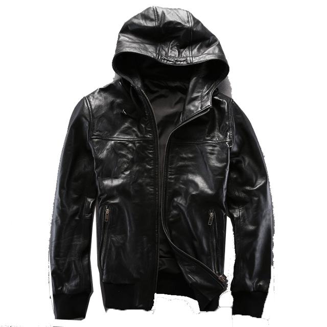 Americana Informal Encapuchados ropa de Béisbol chaquetas de cuero de Los Hombres Super suave de piel de Oveja 2014 Nueva