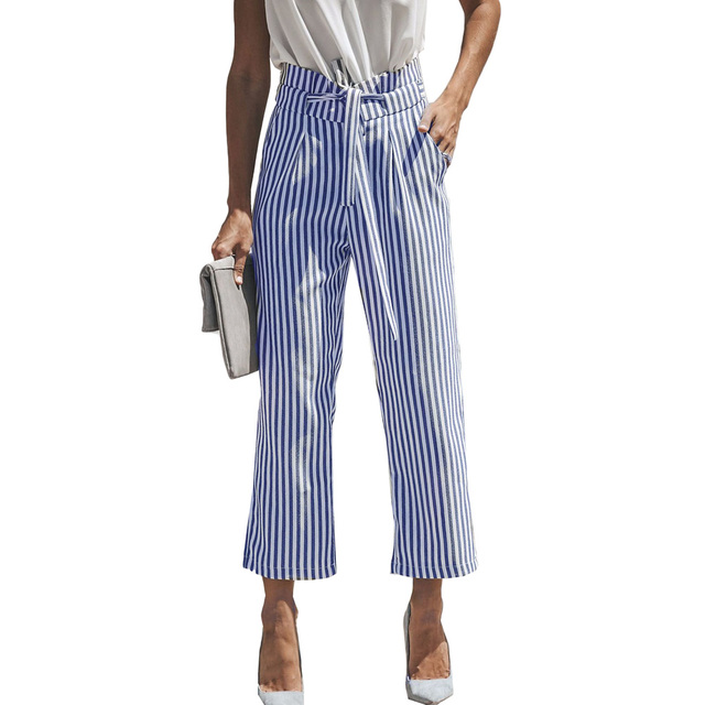 9f6fef0d0062 YJSFG HOUSE 2018 New Womens Wide Leg Pants High Waist Casual Drawstring  Stripe Long Pants Ladies