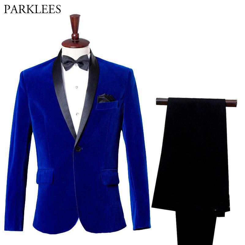 Luxury Blue Velvet Tuxedo Suit Men Casual Slim Fit Mens Shawl Lapel Costume Business Formal Prom Groom Wedding Suits With Pants