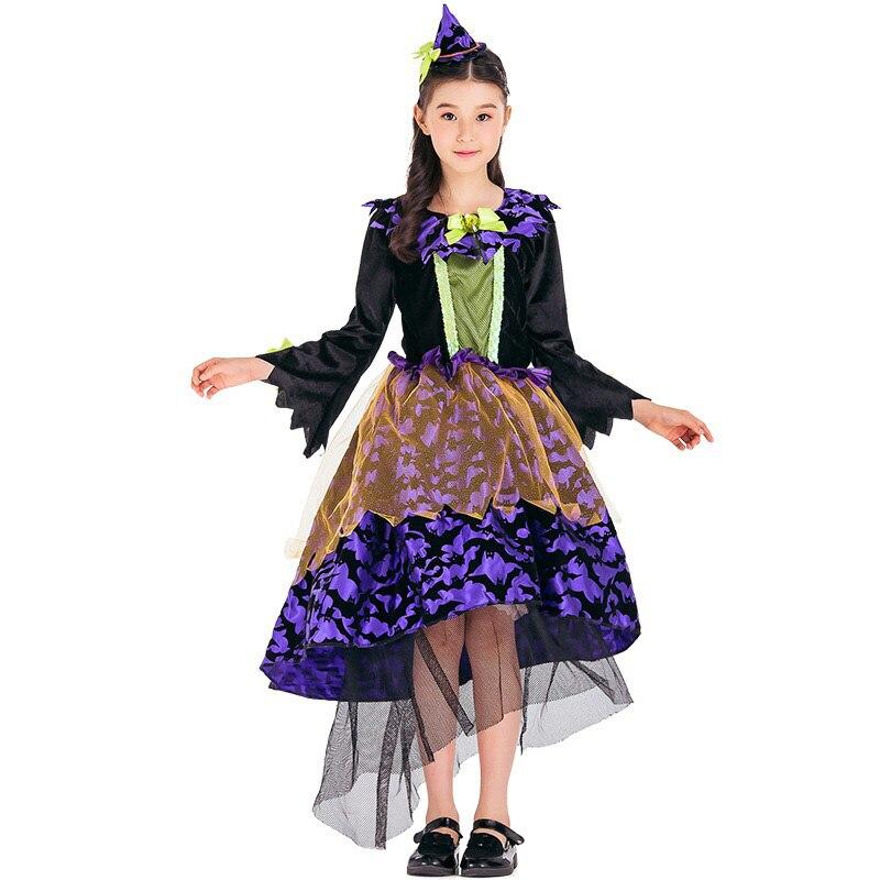 cool kid girls halloween witch costume idea funny purple dress cheap net yarn fancy long sleeve - Kids Cheap Halloween Costumes