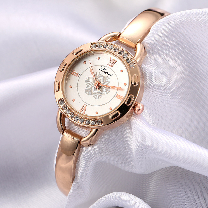 Excellent Quality Bracelet Feminino Watches Women Rhinestone Gold Wristwatches Girl Relojes Mujer Bangle New Women Watches #D125
