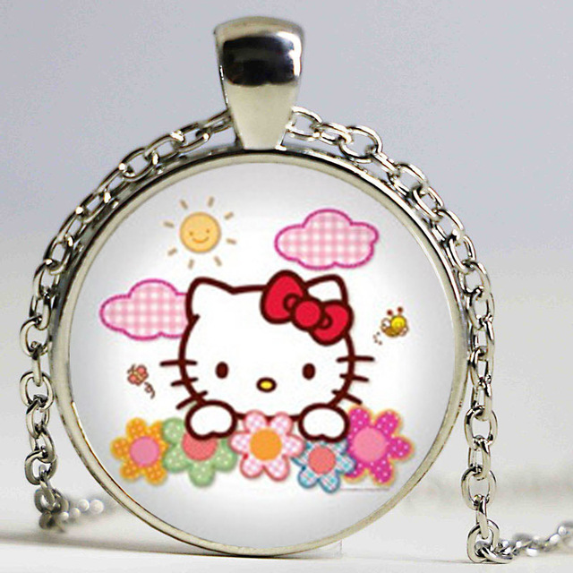 Hello Kitty Pendant ALP Wholesale Hello Kitty Necklace Hello Kitty Jewelry Girls Glass Cabochon  Necklace Gifts For Girl