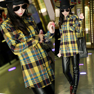 2015 Fashion Women Button Down Lapel Plaids Checks Flannel Shirts Long Sleeve Plaid Print Cotton Blouse Casual Slim Tops Yellow
