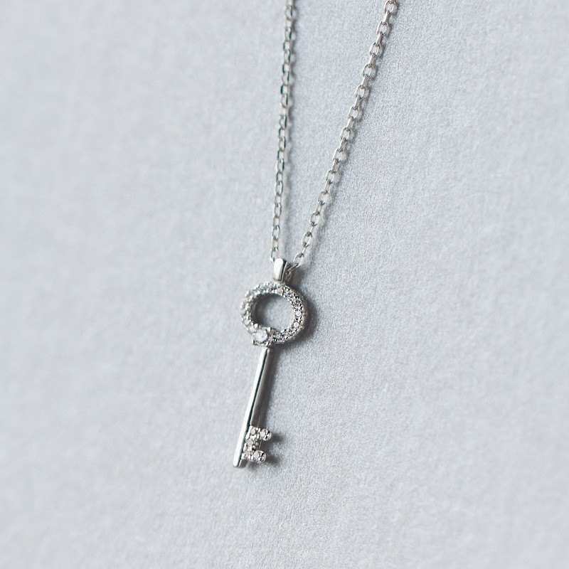 100% Real. 925 Sterling Silver Jewelry Love Key Pendant Necklace with White crystals CZ rolo chain 18inch women's gift GTLX1011