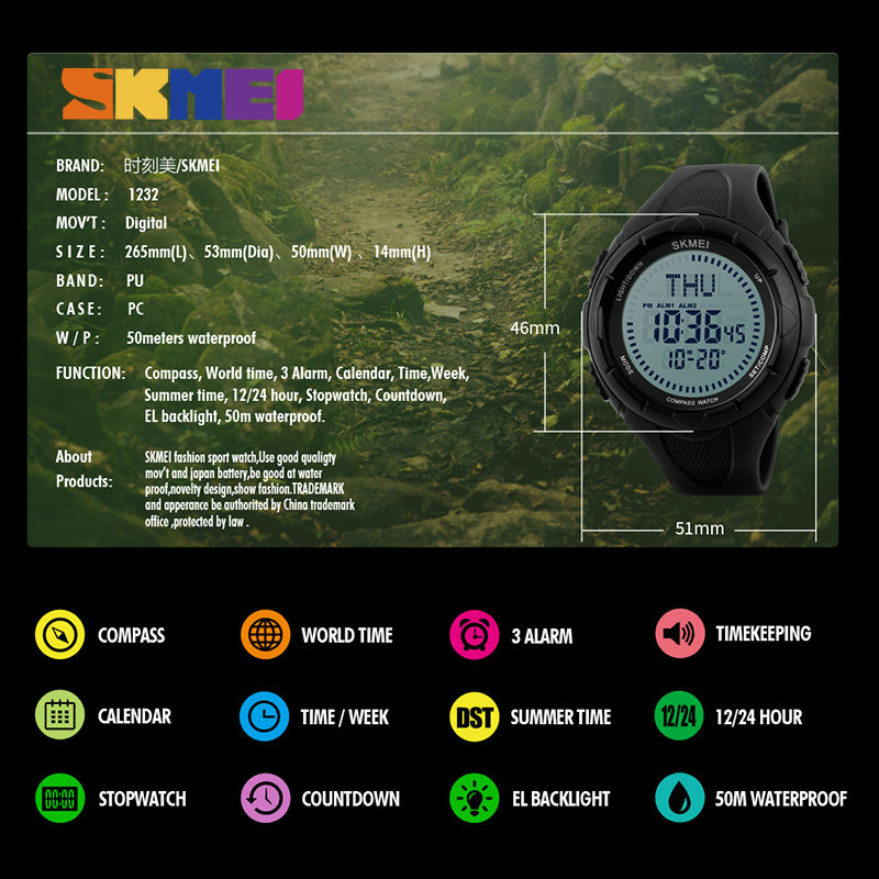 SKMEI Mannen Sport Horloges World Time Kompas Countdown Horloges 50 M - Herenhorloges - Foto 6