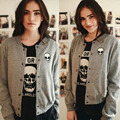 2016 winter cotton gray Stand Alien Embroidered coats casual long sleeve button outwear Fashion Women Baseball jacket