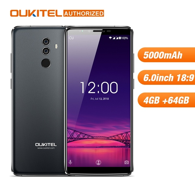 OUKITEL K8 4G 64G Android8.0 Mobilephone Octa-core 5000mAh 6'' 18:9 Display Dual Rear Camera Face ID Fingerprint Smart Cellphone