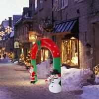 240cm Xmas Props Giant Santa Claus Snowman Inflatable Arch Garden Yard Archway Christmas Ornaments Party Home Shop Party Decor E