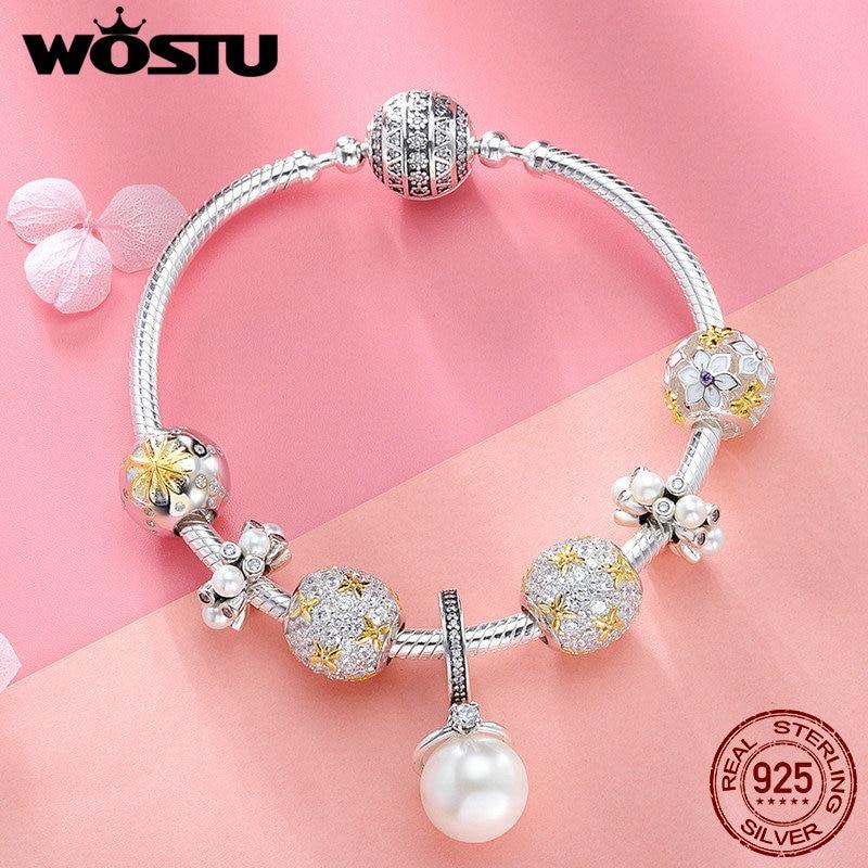 WOSTU подлинный 925 пробы Серебряный ослепительный полный цветение ромашка браслет для женщин модные серебряные ювелирные изделия подарок для влюбленных DXB806 - 5