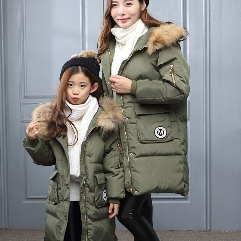 ФОТО Newest Fashion Mother & Kids Family Matching Outfits Thicken White Duck Down Jacket Mother Daughter Outfits Girls Winter Parka