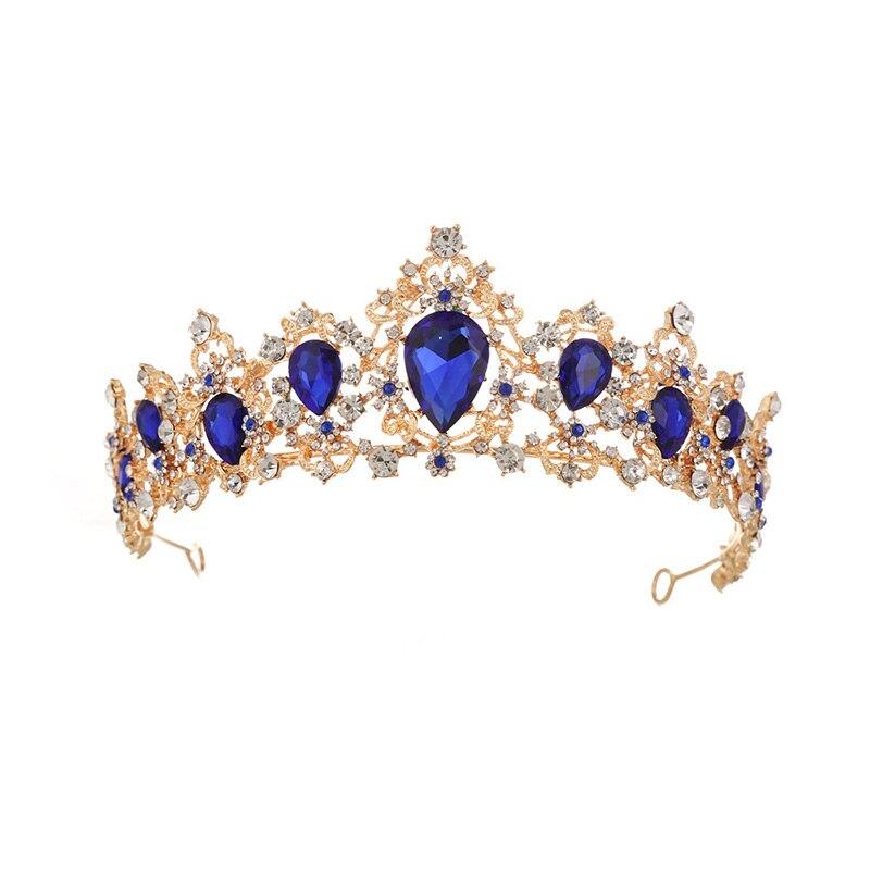 Vintage Gold Color Rhinestone Luxury Crystal Tiara Crowns Wedding Bride  Queen Fashion Headpiece Wedding Bridal Hair 35a31eddee94