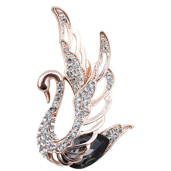 3 colors choose rhinestone and crystal swan brooches for women 18k plated elegant animal pins and brooches fashion jewelry