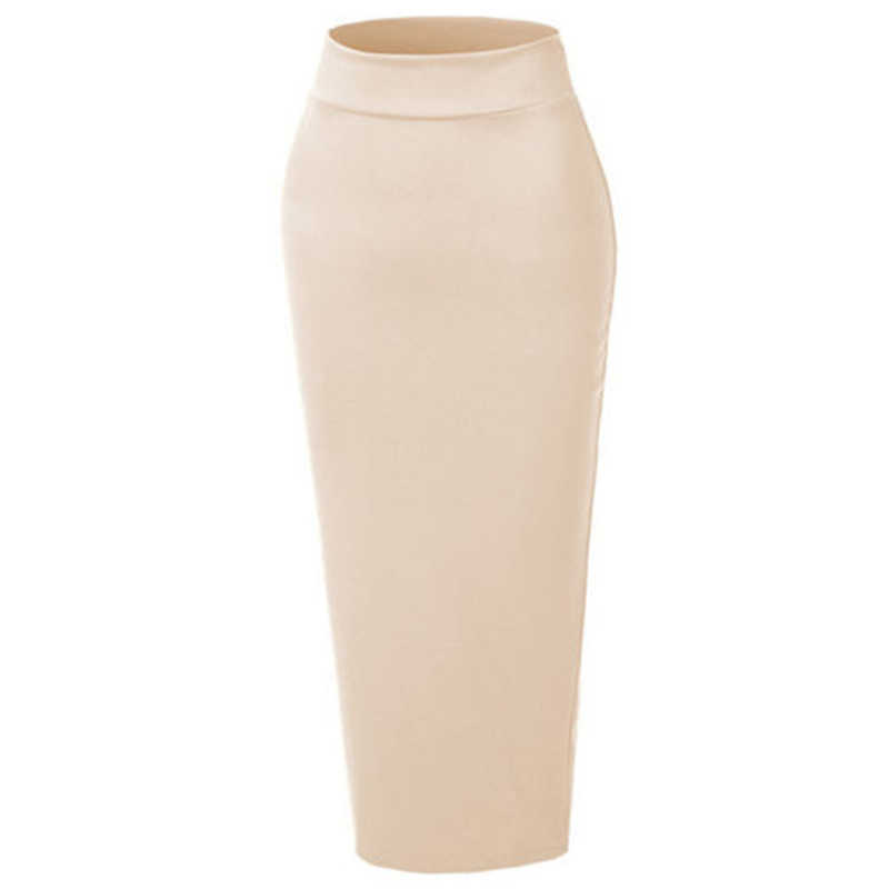 Vrouwen Moslim Lange Rok Katoen Dikke Slanke Hoge Taille Stretch Maxi Bodycon Potlood Rok Abaya Dubai Moslim Half