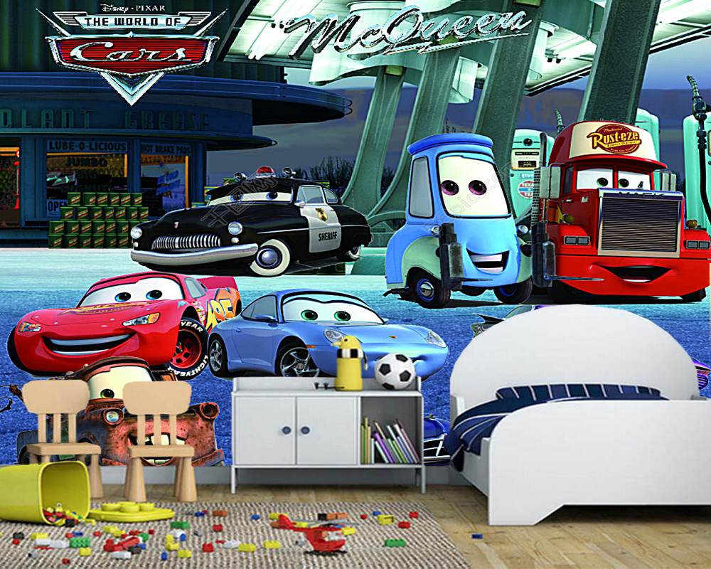 Custom papel DE parede infantil, 3 d cartoon car murals for children room, the boys and girls bedroom wall waterproof wallpaper custom wallpaper murals ceiling the night sky for the living room bedroom ceiling wall waterproof papel de parede