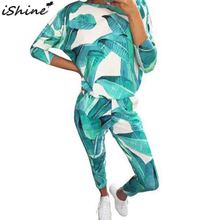 Fashion Printed Round Neck Long sleeved Casual Print Stitching Pullover Elastic Waist Long sleeved Shirt Trousers