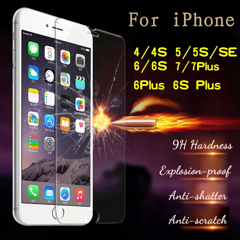 100% Original High Quality Glass For iPhone 4 4S 5 5C SE 5S 6 6S 7 Plus Case 9H 0.26mm Tempered Glass Screen Protector Film Case