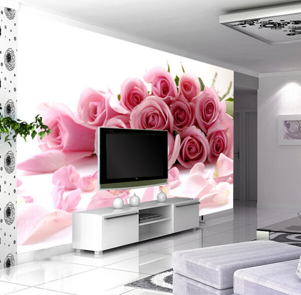 TV backdrop wall paper minimalist living room bedroom cozy wedding room pink roses 3d stereoscopic large mural fabric wallpaper 3d stereoscopic large mural custom wallpaper the living room backdrop bedroom fabric wall paper murals fashion romantic roses