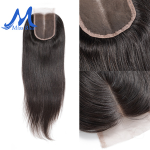 Image 4 - Missblue Brazilian Human Hair Lace Closure Straight 4x4 5x5 Swiss Lace 100% Remy Hair Lace Frontal Closure With Baby Hair