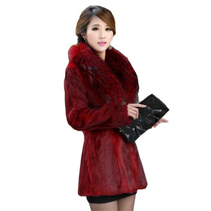 Faux Fur Coat Women  Black Wine Red S-4XL Plus Size Loose Fox Fur Collar Jackets Autumn Winter Korean Office Mom Clothing LD1085