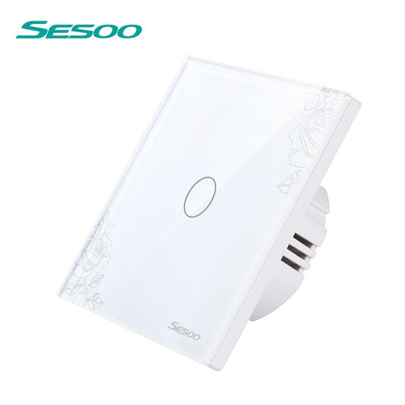 SESOO Control remoto inalámbrico interruptores de luz de Panel de vidrio de cristal interruptor de Control remoto 220 V 1 pandilla 1 manera tacto interruptor