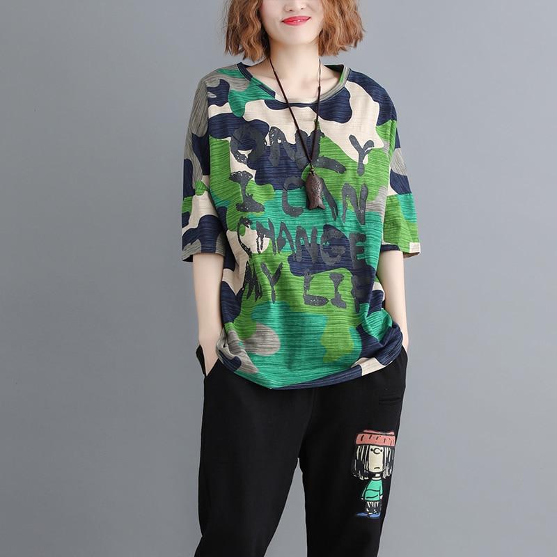 2019 Nouvelle-Coréen grande taille Long T-shirt De Mode D'été décontracté Lâche Harajuku hauts Tee Couture Rue Femmes T-shirts Moitié Impression