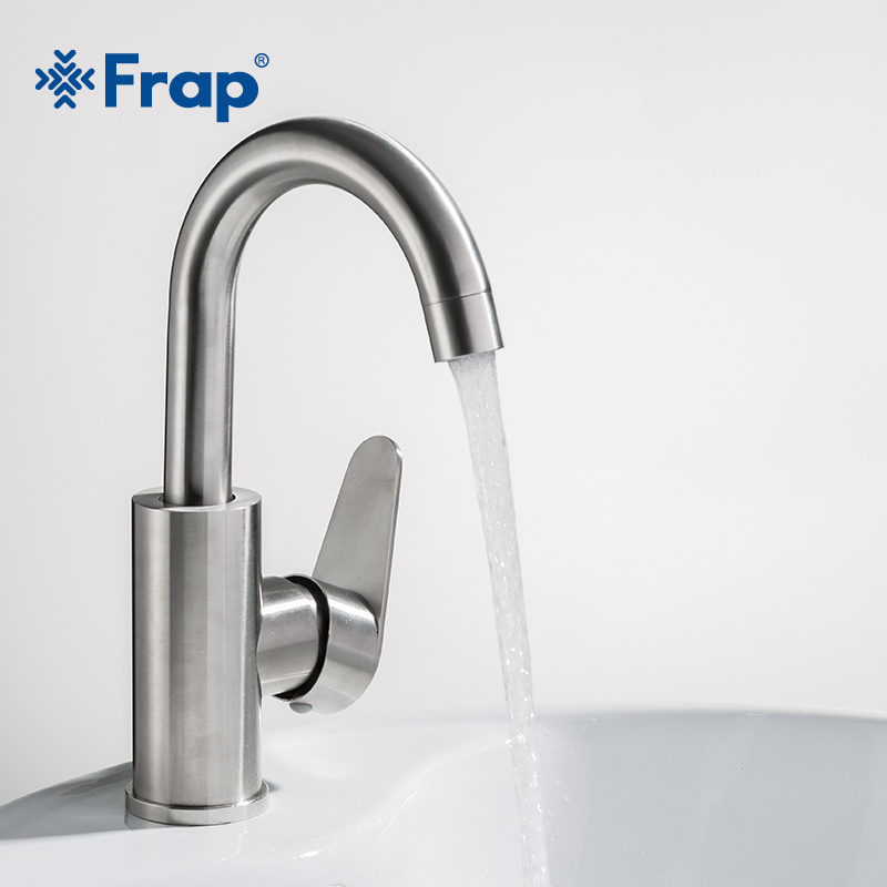 Frap New Arrival Hot And Cold Water Mixer Brushed 304 Stainless Steel Bathroom Faucet Basin Tap Bath Sink Faucet F1348