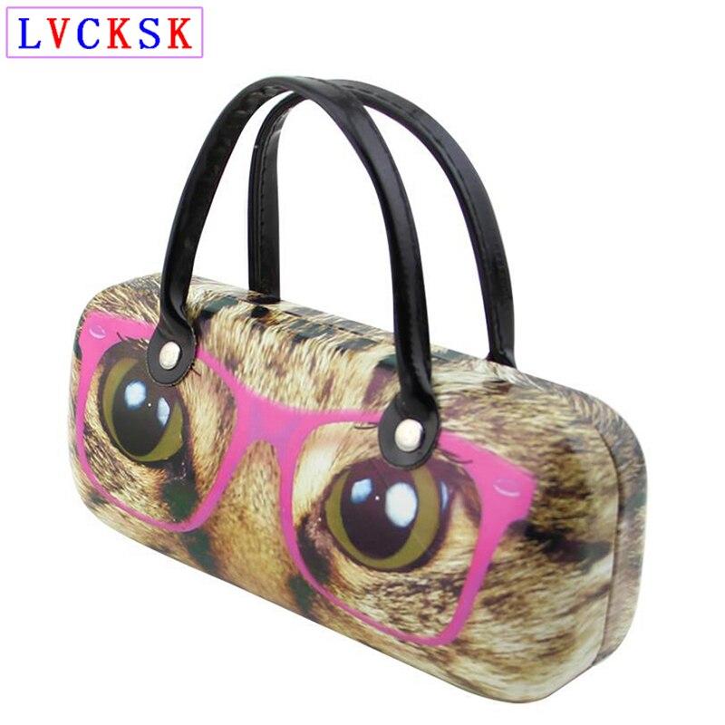 159*70*51mm Myopia Presbyopia Glasses Box Women Cat Floral Printing Sunglasses Clutch handbag Portable Eyeglasses Case L3