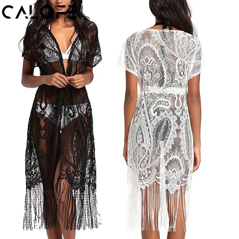 21f511df1c ... Cover Ups Bathing Suit · Calofe 2018 Women White Beach Tunic Black Lace  Floral Long