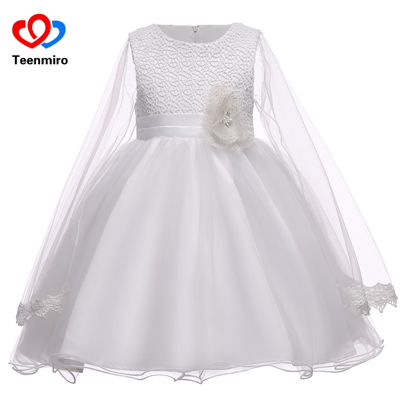 Lace Flower Formal Evening Gown Girls Wedding Princess Dress Children Clothing Kids Cotton Dresses for Birthday Party Clothes 7T girls long formal dress 2017 flower girls princess dresses kids lace vintage evening party ball gown children s wedding dress