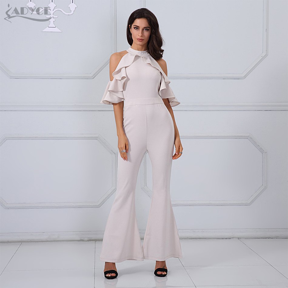 fe8f8ef57f0b Adyce 2018 New Summer Women Long Jumpsuits Apricot Black Halter Ruffles Off  the Shoulder Boot Cut Rompers Party Long Jumpsuit-in Jumpsuits from Women s  ...