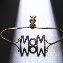 NJ Trendy M Letters Design Charm Bracelets fro Women Girls Silver Gold Cubic Zircon CZ & Bangles Copper Jewelry