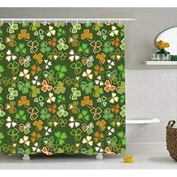 Vixm St. Patrick's Day Shower Curtain Lucky Shamrocks Pattern Irish Clover Celebration Day Party Prints Fabric Bath Curtains