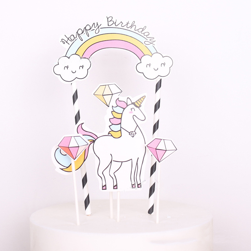 5pcs Unicorn Birthday Party Cake Topper 1st One First Birthday Party Cupcake Decoration Baby Shower Party Supplies 2017 Hot